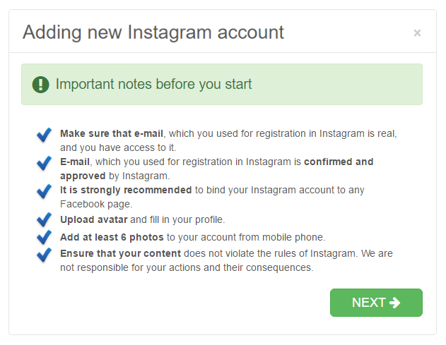 advice before add account in instazood