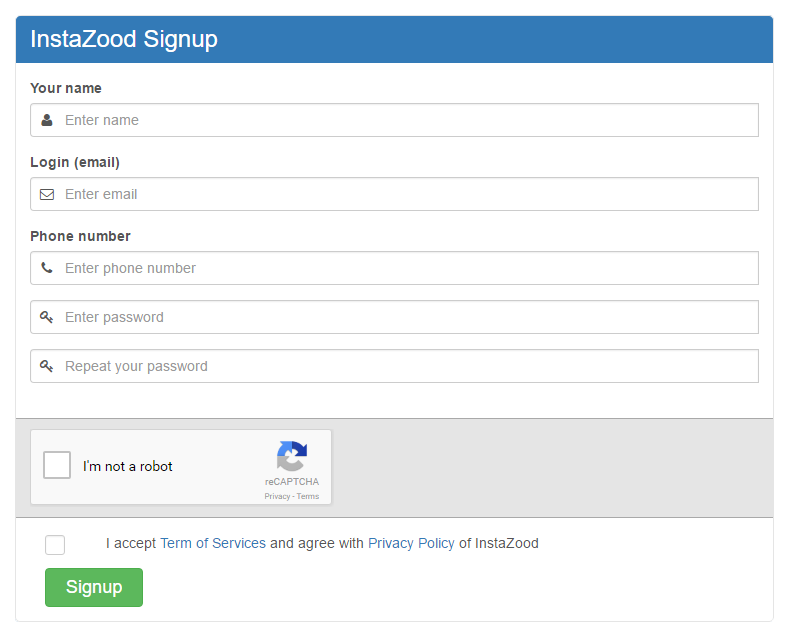 sign up in instazood