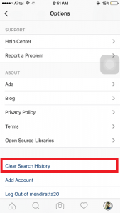 How to clear Instagram search history, particular as well as entire
