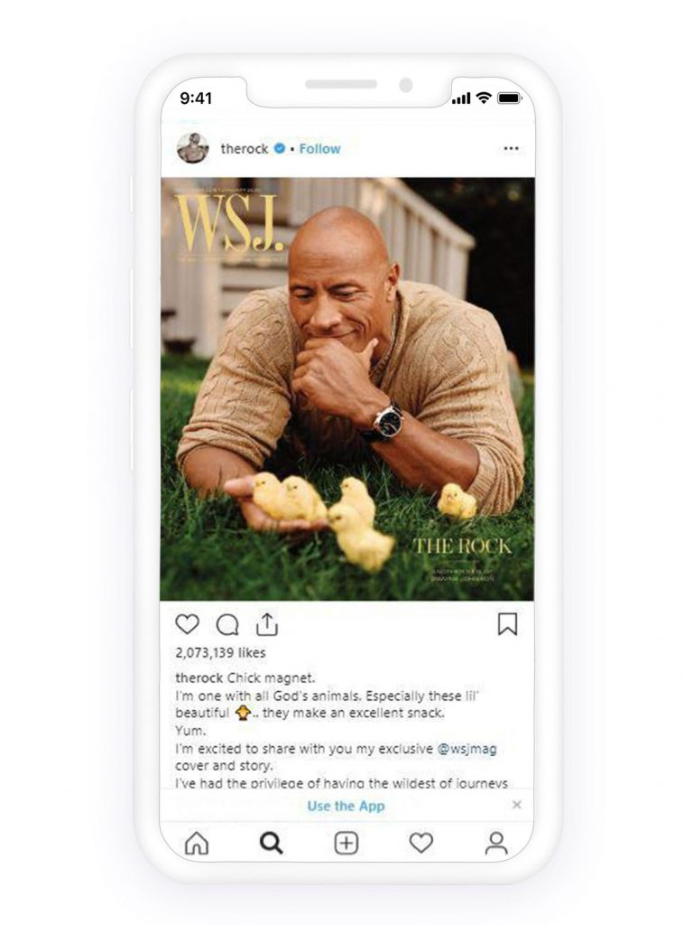 Instagram the rock