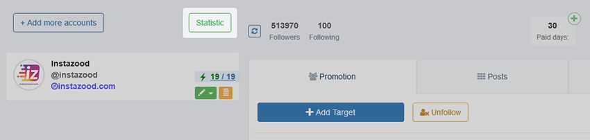 Instazood activity stats button
