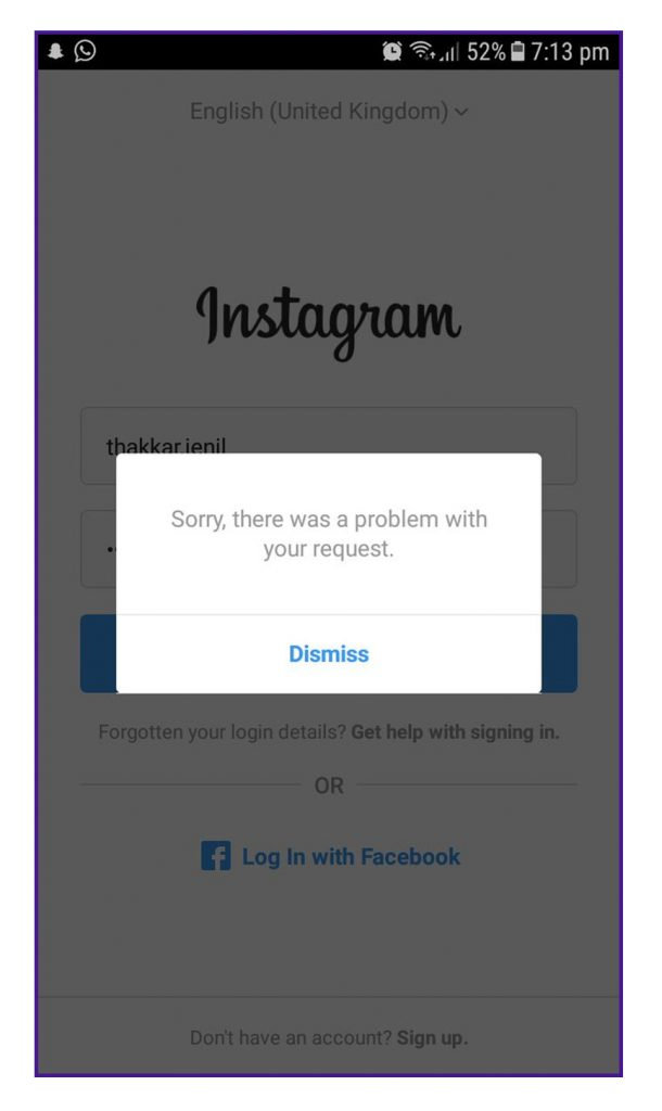 Fix 'Sorry, there was a problem with your request' Instagram Error