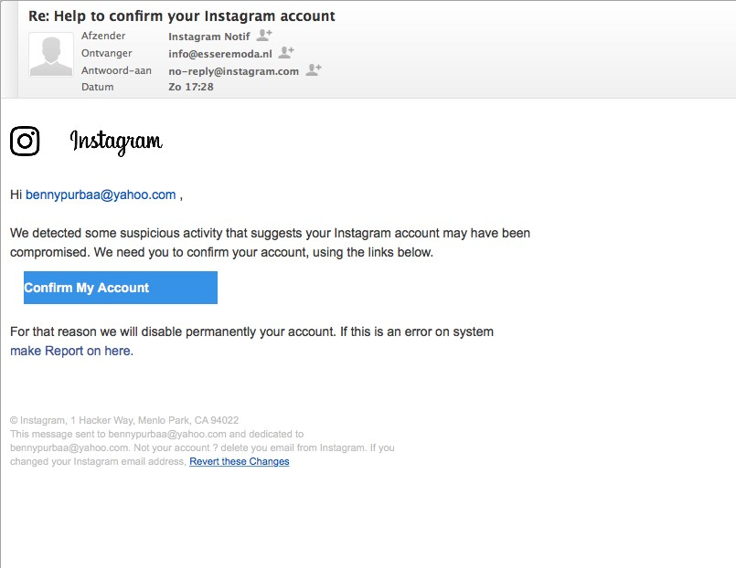 How to change the email linked to my instagram