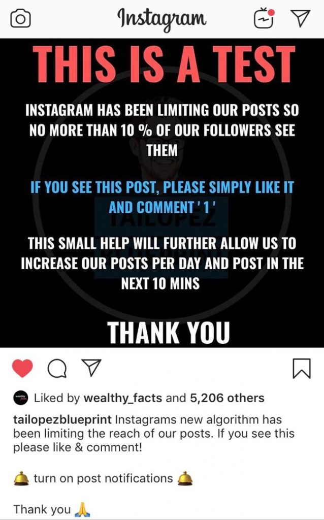 this message shows a call to action from an Instagram user. It is better to encourage followers to act on your profile