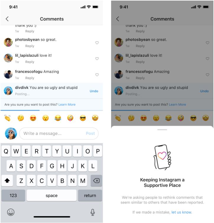 Instagram new features to notify commenters to rethink about their words