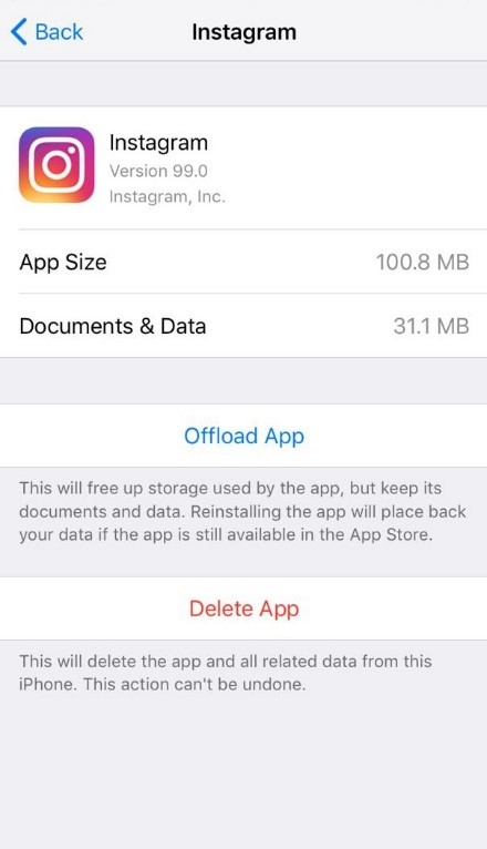 clearing cache of Instagram on iPhone