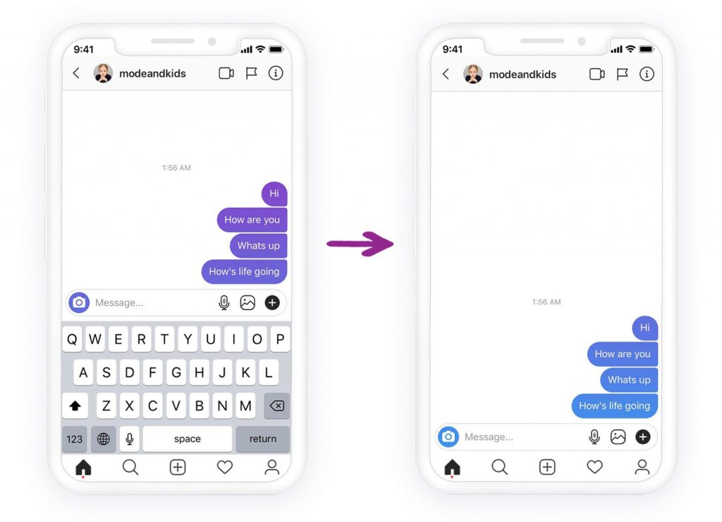 Instagram dm color change from purple to blue