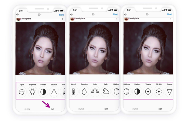 Instagram post Edit options