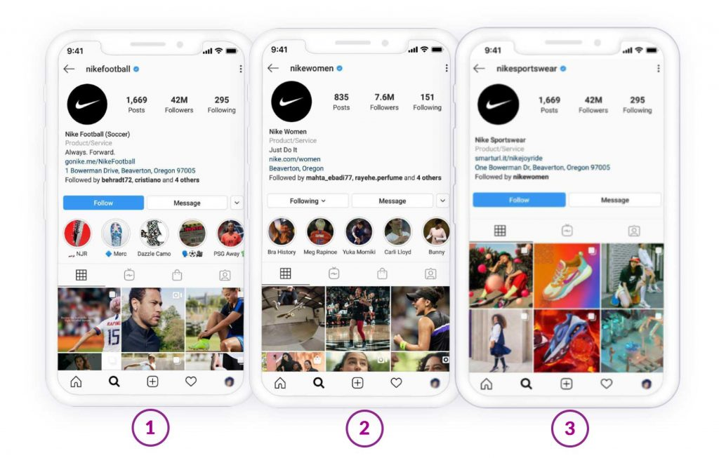 Multiple Instagram accounts and product categories