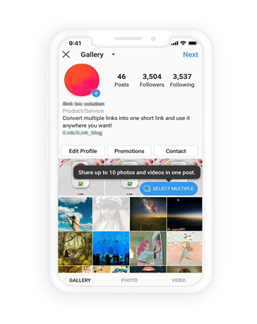 Select multiple photos on Instagram