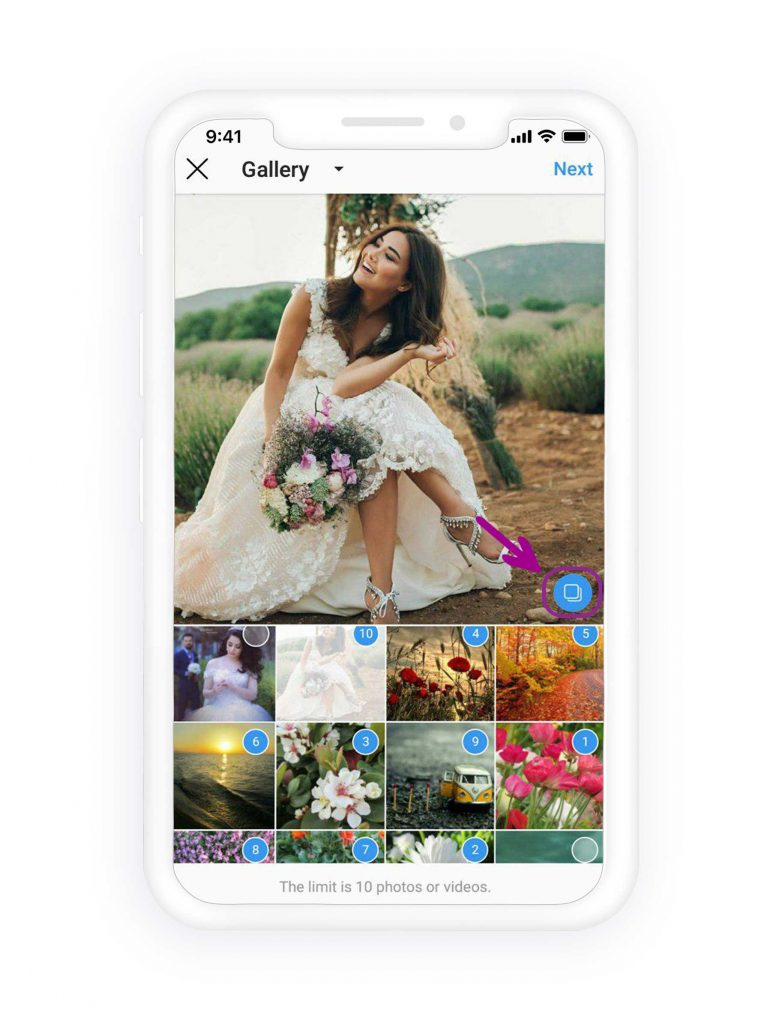 Select up to ten photos to upload on Instagram