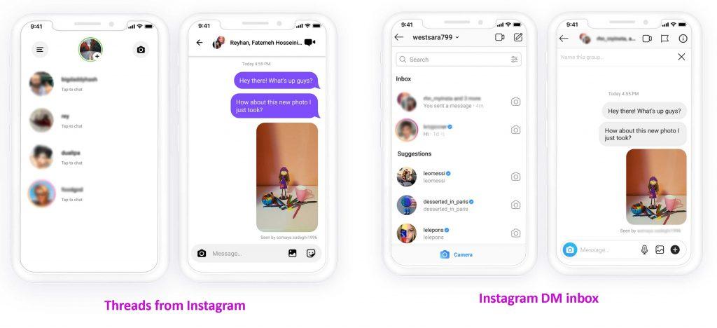 Threads from Instagram and Instagram DM inbox
