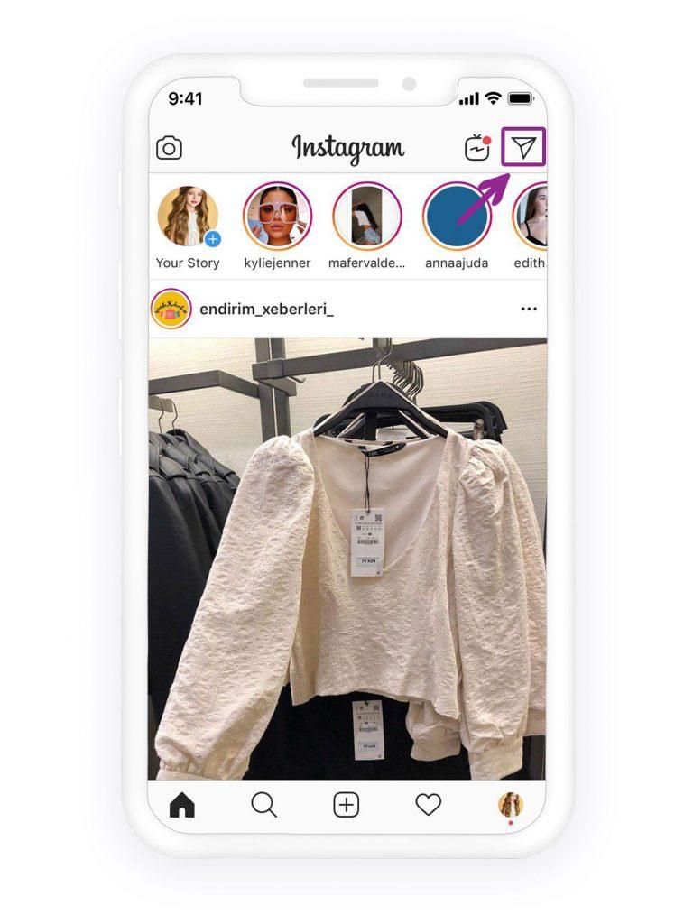 location of Instagram DM on Instagram feed