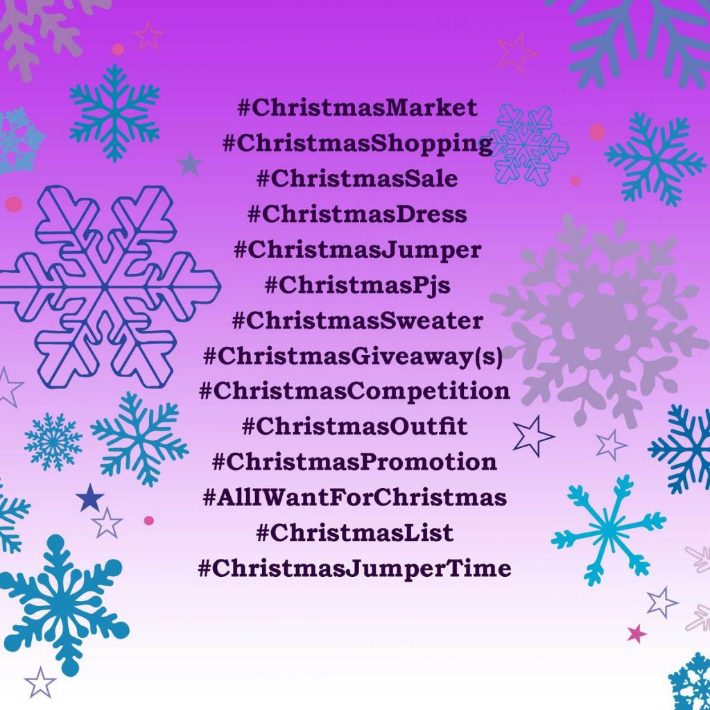 Christmas hashtags for fashion bloggers or marketers
