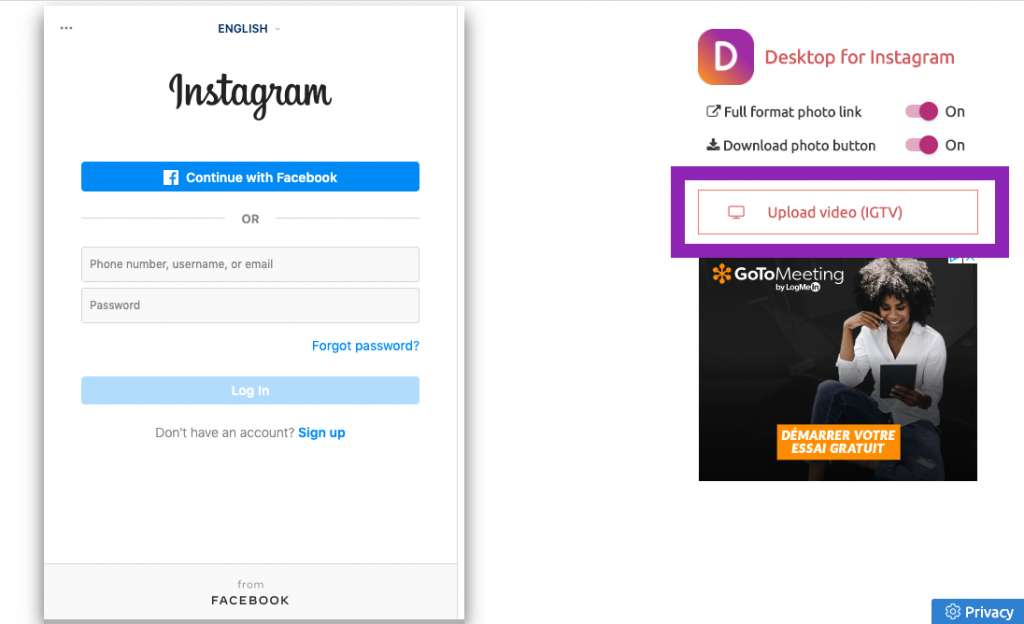 2nd login to Instagram account from www.instgaram.com, back to extension from top menu, click upload video