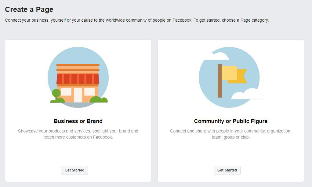 Choose business or public figure to create a Facebook page