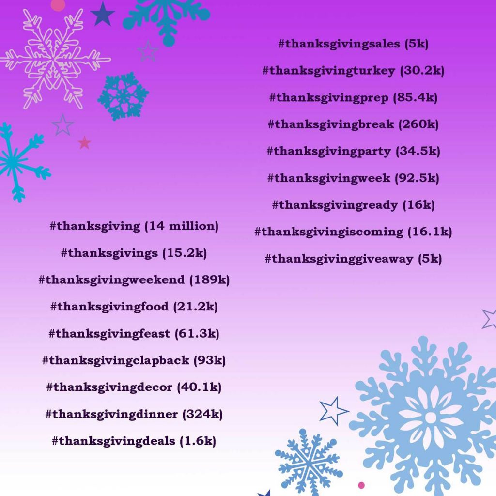 The most popular Hashtags for the thanks giving