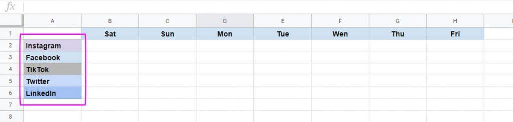 social media platforms for the content calendar