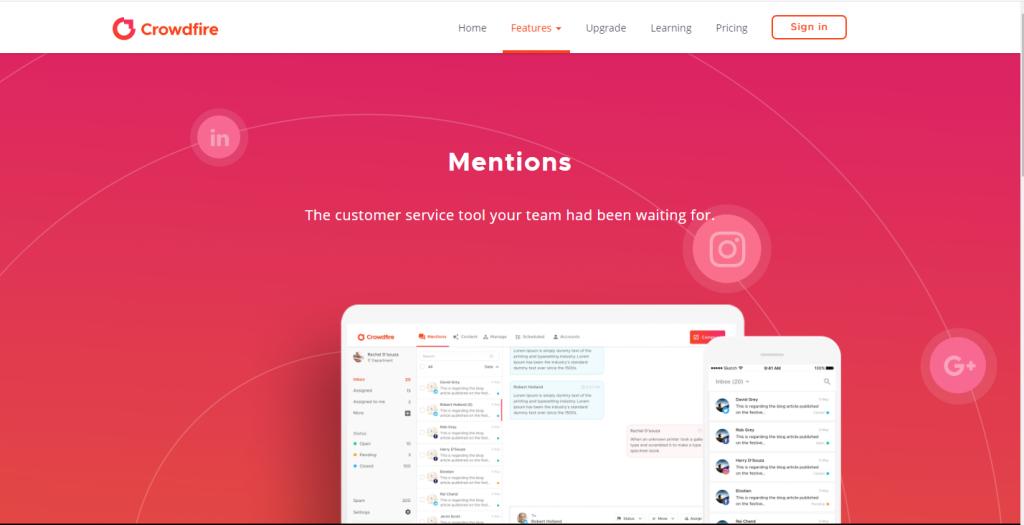 Crowdfire social listening tool