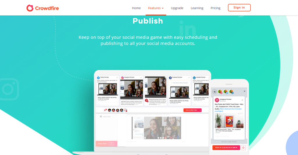 crowdfire social media scheduler