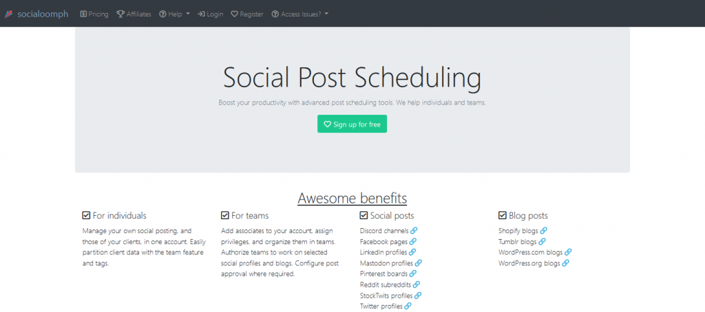 socialoomph social media scheduler