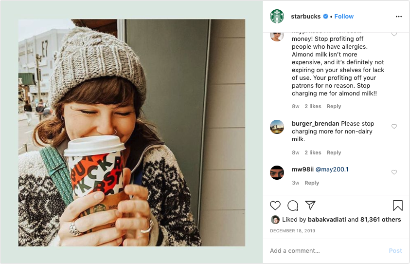 Starbucks is an example of user-generated content